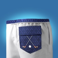 Men's white swimwear with blue golf pocket