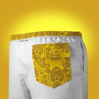 Men's white swimwear with yellow cashmere pocket