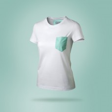 T-shirt donna bianca con tasca verde tiffany a pois