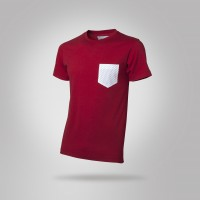 Man red t-shirt with pois pocket